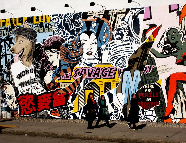 Faile street art mural on Bowery in New York