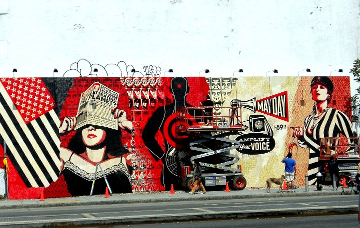 Shepard Fairey street art on the Bowery in New York