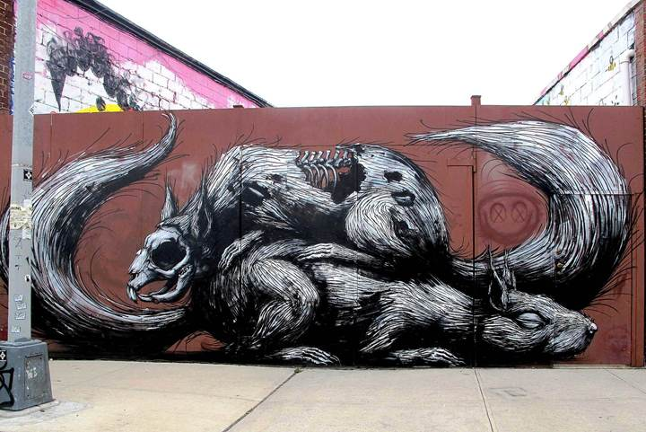 Roa street art in Bushwick1 Roa: On NYC Streets & at the Jonathan LeVine Gallery