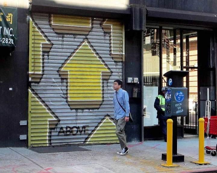 """Above street art on Manhattan's Lower East Side"""
