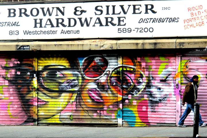 """Cern street art on Bronx store shutter"""