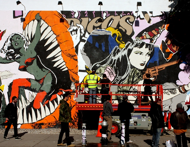 Faile street art installation on the Bowery Faile on NYC Streets and at Opera Gallery NY