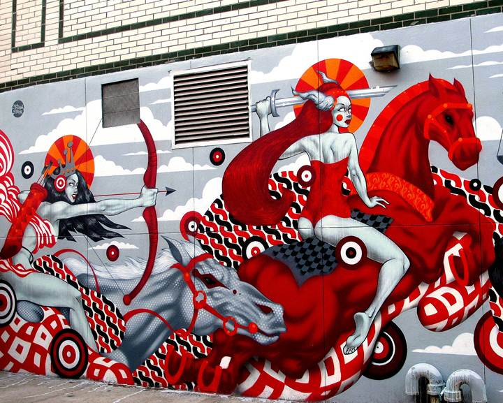 Tristan Eaton street art in Brooklyn In Williamsburg: Tristan Eaton, How&Nosm, R. Robot, Smells and Hef & Rez