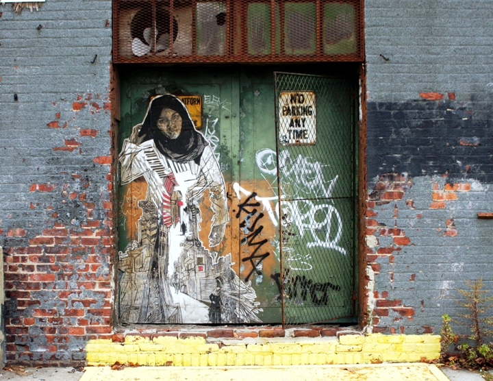 """Swoon street art in Gowanus, Brooklyn"""