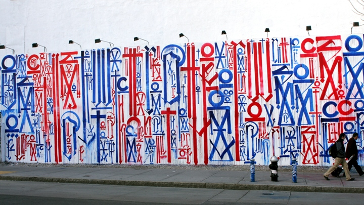 """ Retna graffiti and street art mural on NYC's Bowery"""