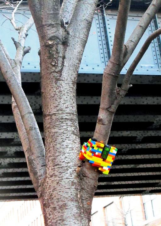 """Jay Moon's street art Lego sculpture in Chelsea, NYC"""