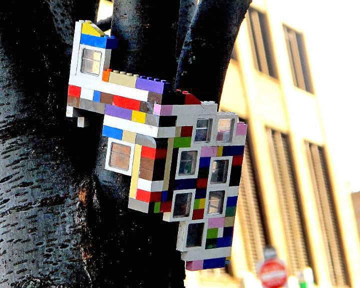 """Jaye Moon Lego street art installation in DUMBO, NYC"""