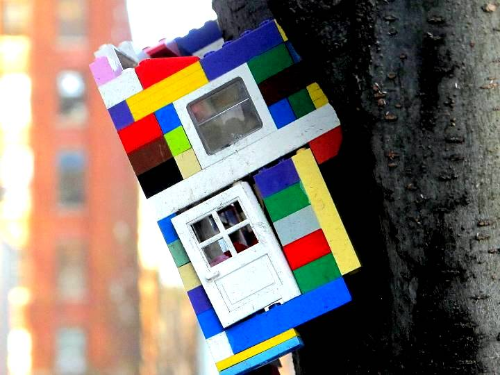 """Jaye Moon Lego installation in DUMBO, NYC"""