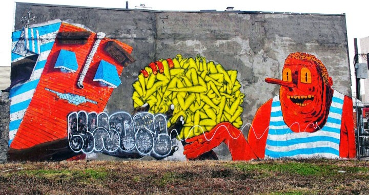 """OverUnder, Irgh and ND'A street art"""