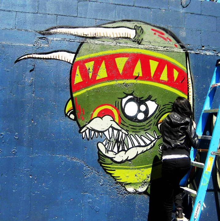 """Sheryo street art character in Brooklyn, NYC"""