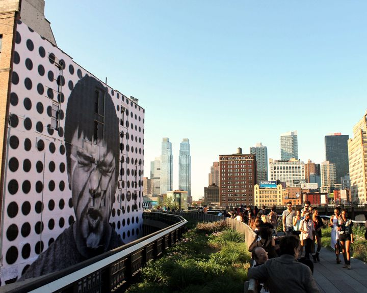 """JR street art on NYC's High Line"""