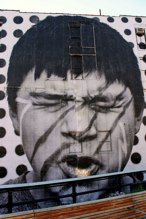 JR street art in NYC Award Winning Photographer/Artist JR in Manhattans Chelsea