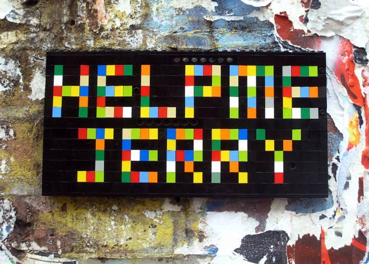 """Jaye Moon street art Lego installation in Chelsea, NYC"""
