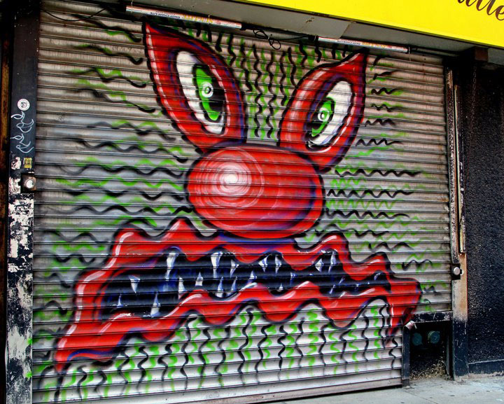 Kenny Scharf street art in NYC NYC Shutters   Part I: Nick Walker, Ben Eine, JMR, Flying Fortress & Kenny Scharf