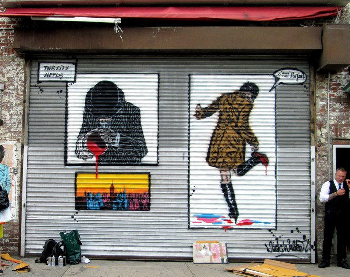 """Nick Walker stencils on NYC shutter"""