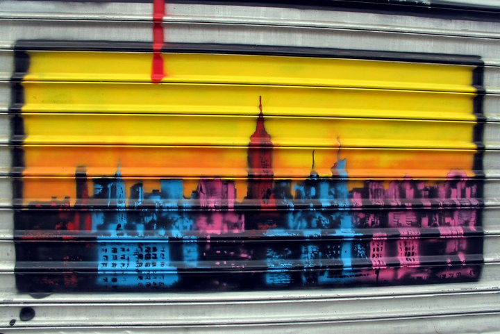 """Nick Walker stencil art on NYC shutter"""