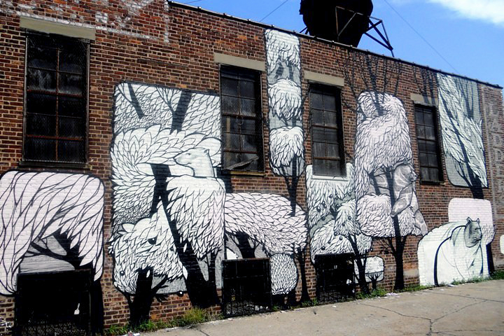 Concrete Jungle street art in Brooklyn NYC Bushwick's Wondrous Walls: Swoon, Concrete Jungle, Priscila De Carvalho, Ema, Sonni & more