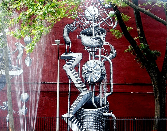 Phlegm street art close up in NYC playground Phlegm at the Chelsea Playground: Street Art at its Best