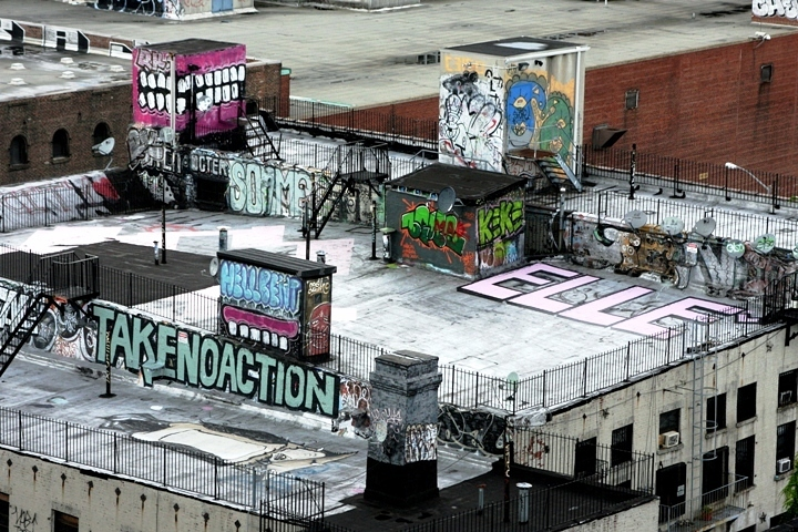 Sweet Toof Elle street art on NYC rooftop A Walk on the Williamsburg Bridge: Swampy, JR, Stikman, Quel Beast, Burning Candy, Invader, Cash4, Paul Richard, Veng RWK & more