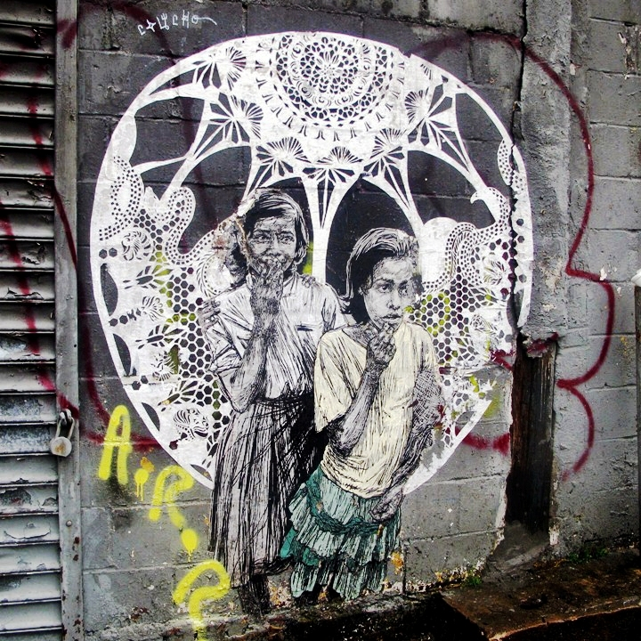Swoon in Bedford Stuyvesant Brooklyn Girls on Walls, Part V: Cekis, Cern, Crystal Clarity, Hef, Shiro, Swoon and the Wallnuts