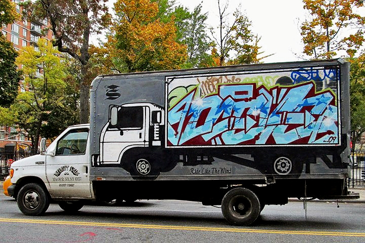Deceve Smart Crew graffiti on NYC truck NYC's Stylish Trucks & Vans – from the Whimsical to the Wild, Part IV: Noxer & 3ess, Gano, Wen One, Deceve, Sebs, NDA & See One and Stem