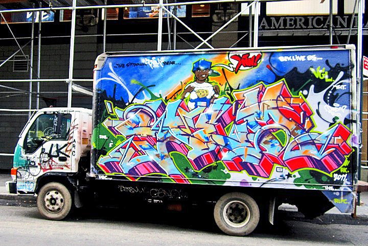 Stem graffiti on NYC truck NYC's Stylish Trucks & Vans – from the Whimsical to the Wild, Part IV: Noxer & 3ess, Gano, Wen One, Deceve, Sebs, NDA & See One and Stem