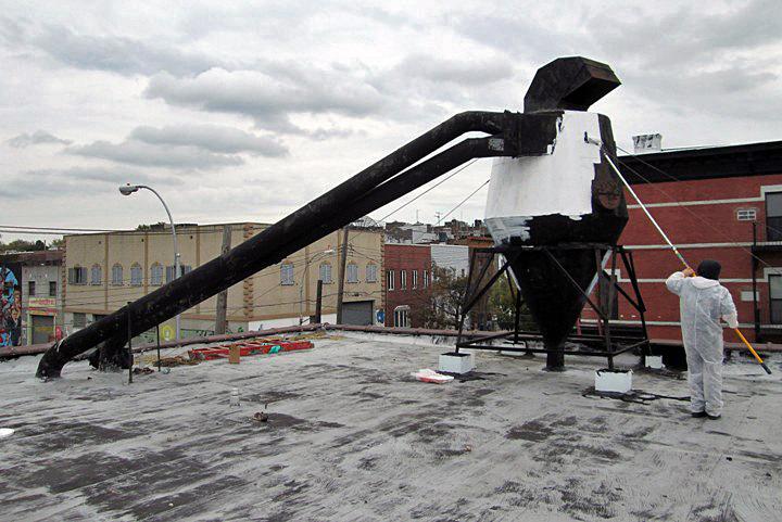 Stik at work on Bushwick roof top1 Speaking with Stik
