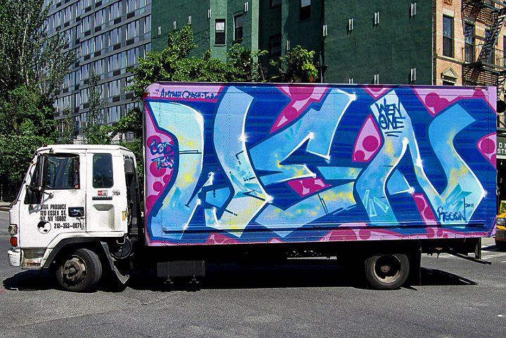 Wen One graffiti on NYC truck NYC's Stylish Trucks & Vans – from the Whimsical to the Wild, Part IV: Noxer & 3ess, Gano, Wen One, Deceve, Sebs, NDA & See One and Stem