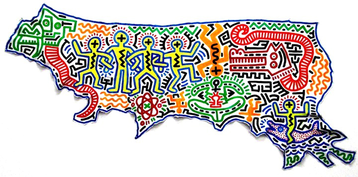 Keith Haring artwork on leather Seldom seen Keith Haring artworks at Mana Contemporary