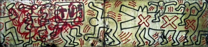 Keith Haring spray paint on metal panels Seldom seen Keith Haring artworks at Mana Contemporary