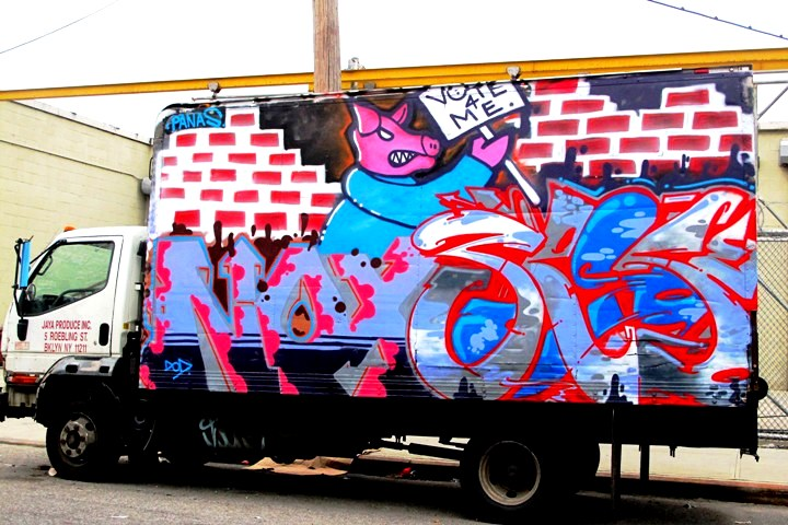 Noxer and 3ess graffiti on NYC truck NYC's Stylish Trucks & Vans – from the Whimsical to the Wild, Part V: Sevor & Ideal, Cinik, Ski & Optimo Primo, Staino, Noxer & 3ess, Roda, Repo and Toper/Smart Crew