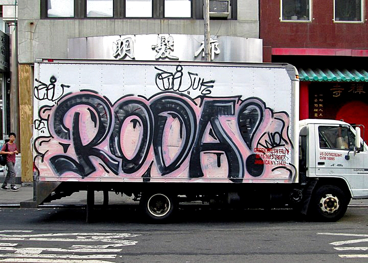 Roda graffiti on NYC truck NYC's Stylish Trucks & Vans – from the Whimsical to the Wild, Part V: Sevor & Ideal, Cinik, Ski & Optimo Primo, Staino, Noxer & 3ess, Roda, Repo and Toper/Smart Crew
