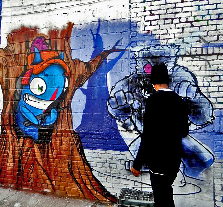 See One street art action at Bushwick Five Points Winter Mural Project at Bushwick Five Points: Stik, Zimad, Alice Mizrachi, Col, Danielle Mastrion, Bowz, Icy & Sot, Gilf!, See One & LNY