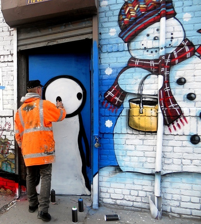 Stik and Zimad street art characters at Bushwick Five Points Winter Mural Project at Bushwick Five Points: Stik, Zimad, Alice Mizrachi, Col, Danielle Mastrion, Bowz, Icy & Sot, Gilf!, See One & LNY
