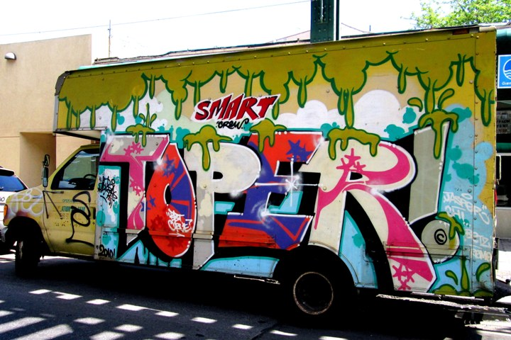 Toper Smart Crew graffiti on NYC truck NYC's Stylish Trucks & Vans – from the Whimsical to the Wild, Part V: Sevor & Ideal, Cinik, Ski & Optimo Primo, Staino, Noxer & 3ess, Roda, Repo and Toper/Smart Crew