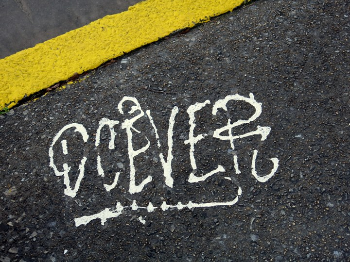 DCEVE graffti on NYC pavement NYCs Dashing Pavement Art
