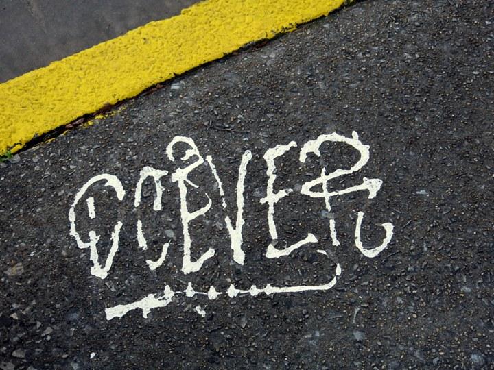 DCEVE graffti on NYC pavement NYCs Dashing Pavement Art