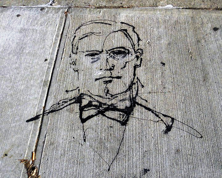 Paul Richard street art gentleman on NYC pavement1 NYCs Dashing Pavement Art