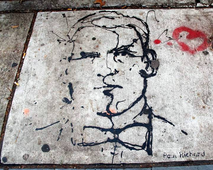 Paul Richard street art on NYC pavement NYCs Dashing Pavement Art