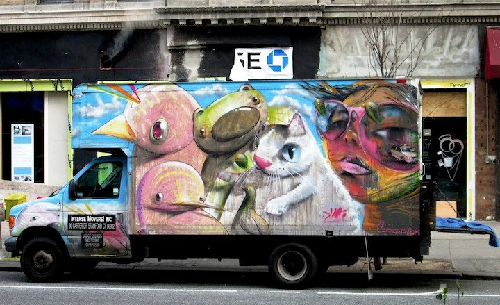 Cern street art on NYC truck NYC's Stylish Trucks & Vans – from the Whimsical to the Wild, Part VI: KA & UR New York, KR ONE, Cern, Auks One and Doves
