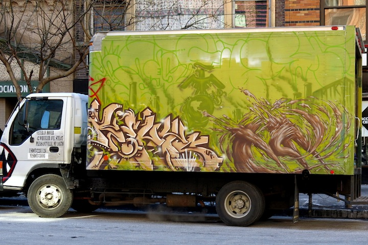 KA and UR New York graffiti on NYC truck NYC's Stylish Trucks & Vans – from the Whimsical to the Wild, Part VI: KA & UR New York, KR ONE, Cern, Auks One and Doves