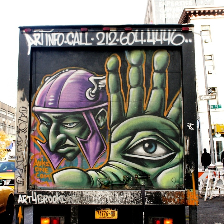 auksone street art on NYC truck NYC's Stylish Trucks & Vans – from the Whimsical to the Wild, Part VI: KA & UR New York, KR ONE, Cern, Auks One and Doves