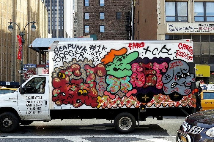 Groser graffiti on NYC truck NYC's Stylish Trucks & Vans – from the Whimsical to the Wild, Part VII: Xabu, JR, Grocer, Priz, Emo, Hefner & Never
