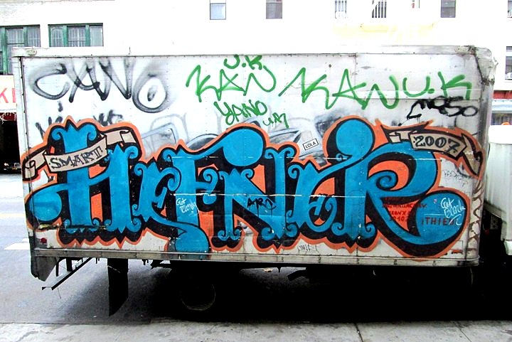 Hefner graffiti on NYC truck NYC's Stylish Trucks & Vans – from the Whimsical to the Wild, Part VII: Xabu, JR, Grocer, Priz, Emo, Hefner & Never