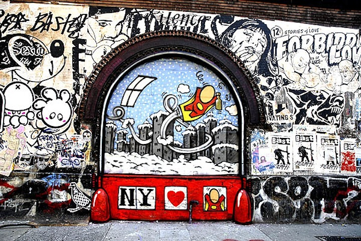 graffiti and street art on 11 Spring Street in NYC
