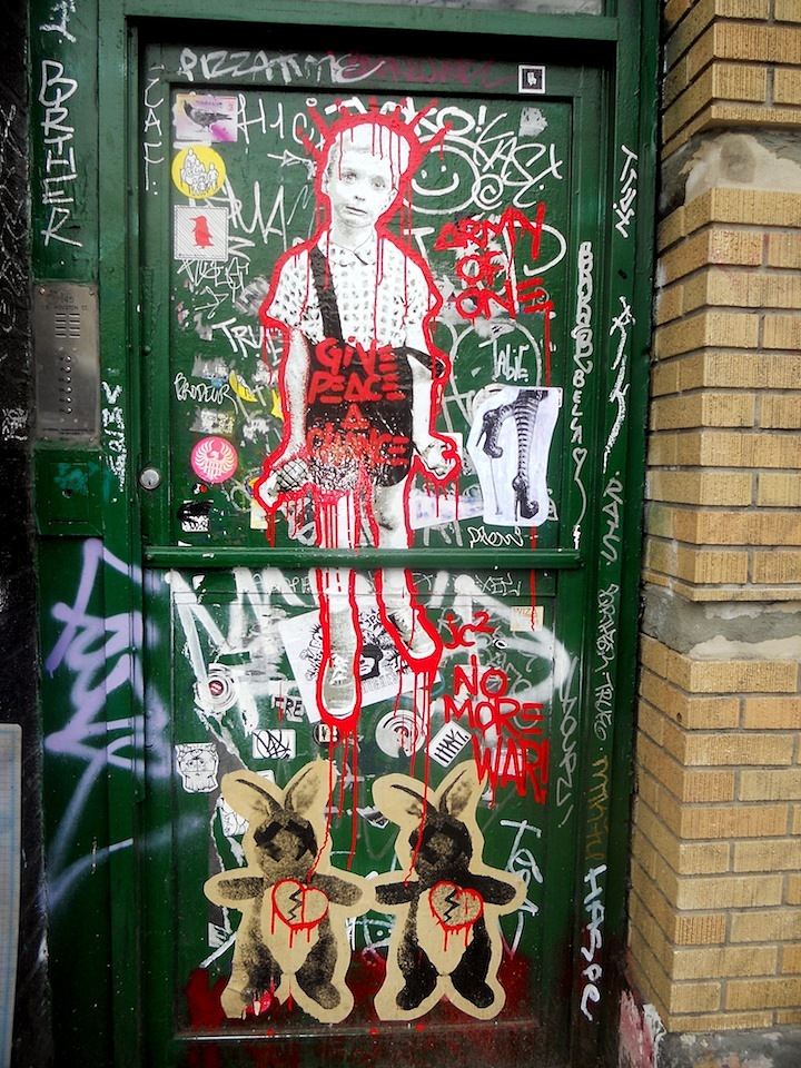 Army of One Adam Dare street art in NYC NYCs Expressive Doors: Betten, Faile, Bast, Harlequin, Army of One, Adam Dare, Jellyfish, Katsu and more