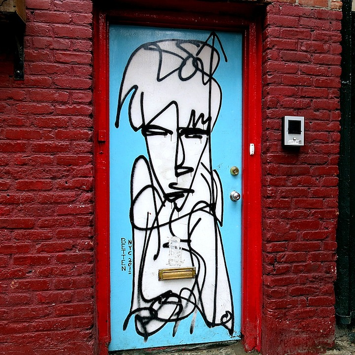 Betten public art in NYC NYCs Expressive Doors: Betten, Faile, Bast, Harlequin, Army of One, Adam Dare, Jellyfish, Katsu and more