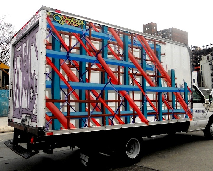 Cekis art on NYC truck NYC's Stylish Trucks & Vans – from the Whimsical to the Wild, Part VIII: Cekis, Kwaz, UR NewYork & KA, Sevor & Ideal, Wane, the Royal KingBee and Dek & Glue 2dx