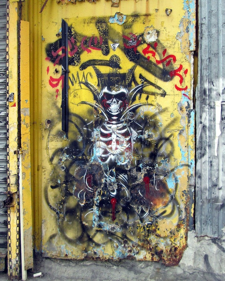 Harlequin street art in Brooklyn NYCs Expressive Doors: Betten, Faile, Bast, Harlequin, Army of One, Adam Dare, Jellyfish, Katsu and more