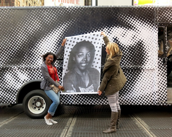 JR street art photography in Times Square NYC Faces in NYC Public Spaces: RAE, Youth Waste, Veng, The Yok, Ewok, Joseph Meloy, Aimee Cavazzi & JRs Inside Out NYC